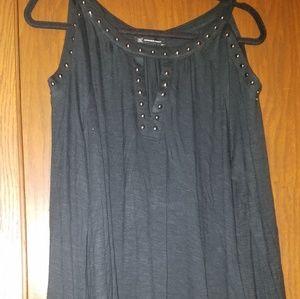INC black studded top sz L